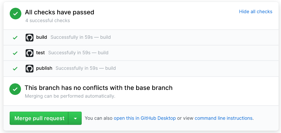 Checkmark green message from GitHub when a Travis CI build successfully passes:'This pull request can be automatically merged.'
