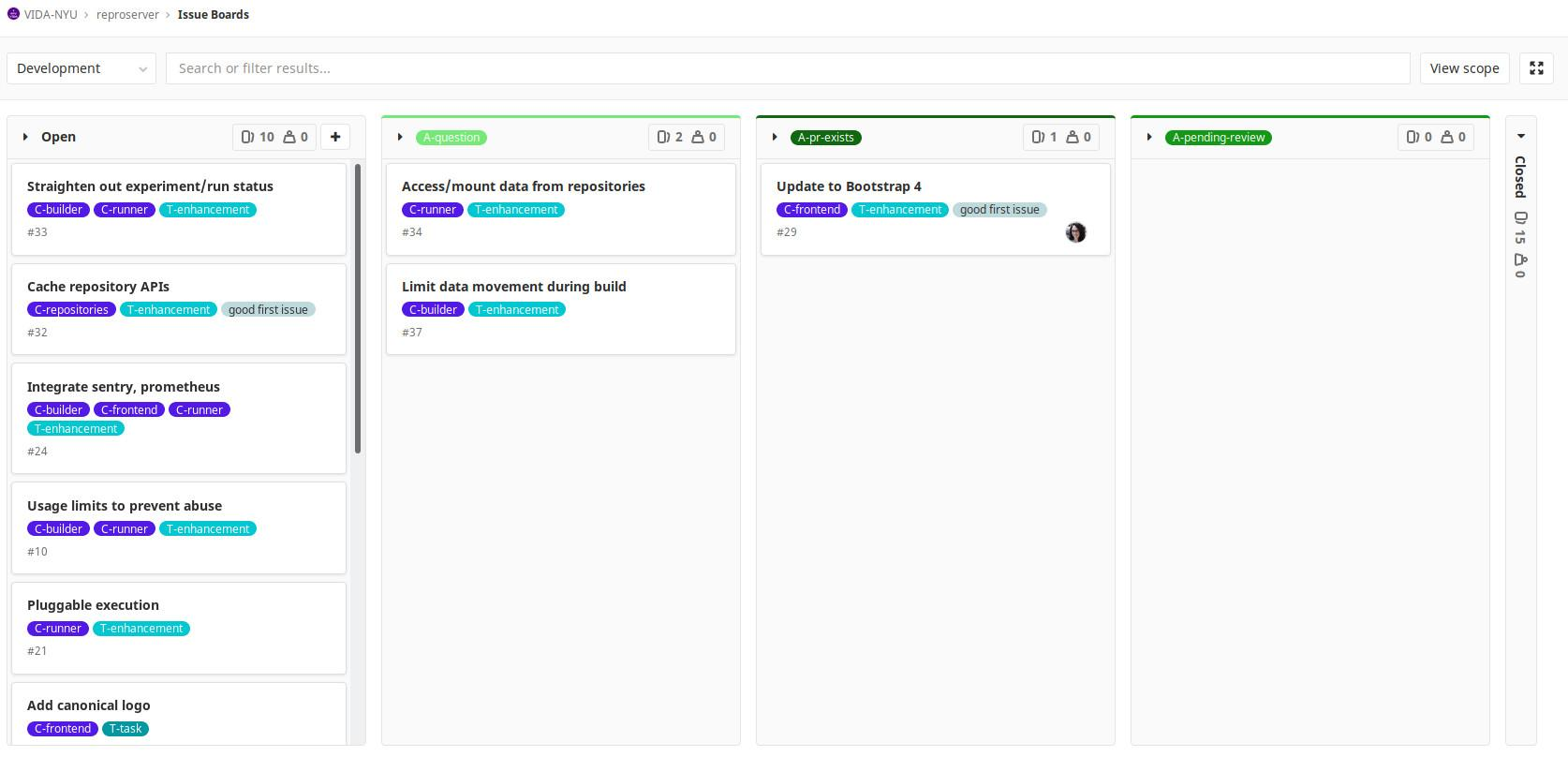 Screenshot of ViDA-NYUs GitLab repository Issue Boards page.